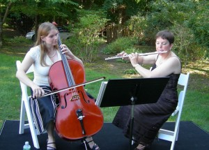 Moira performing with her daughter, Madeleine.